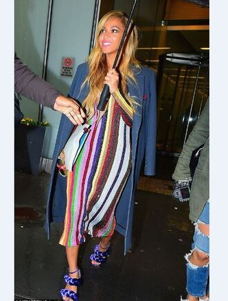 dress stripes striped dress beyonce sandals midi dress coat