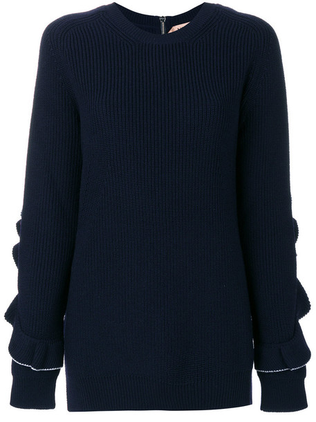 No21 - round neck jumper - women - Virgin Wool - 36, Blue, Virgin Wool