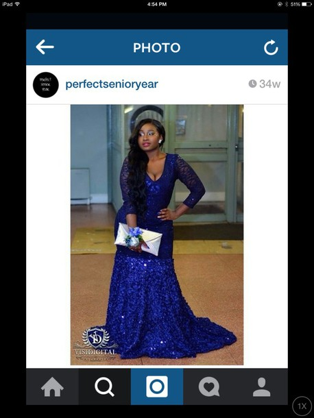Dress Blue Dress Mermaid Prom Dress Poofy Dress Long Sleeve