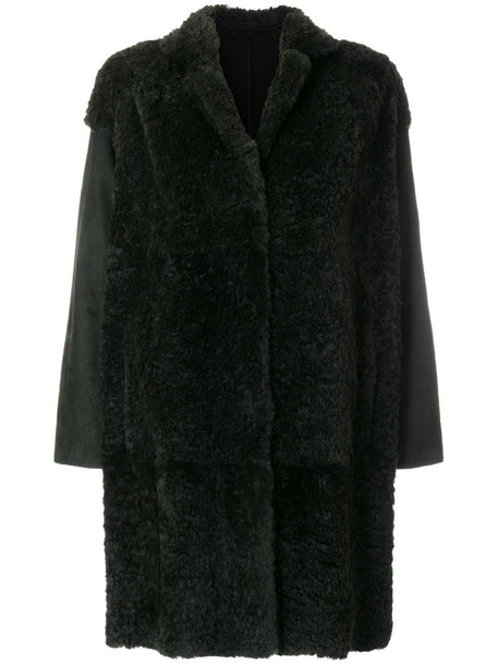 Salvatore Santoro coat oversized fur women leather green