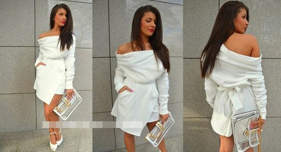 sweater cardigan white cardigan white dress transparent bag see through transparent  bag bag