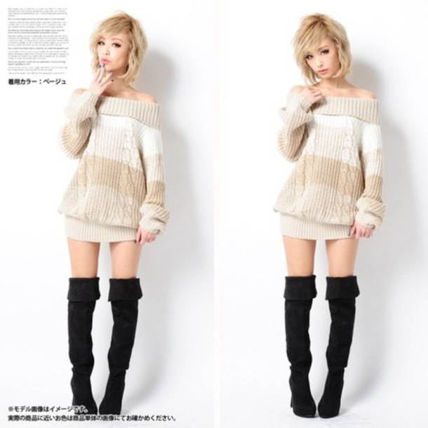 Sweater: sweater dress, off the shoulder, cute, two way, knitted ...