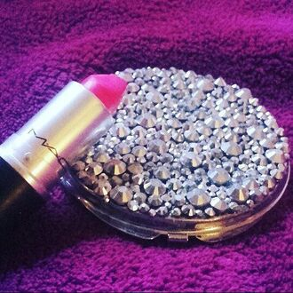 make-up mirror pocket mirror rhinestones party make up makeup accessories accessories silver home accessory strass