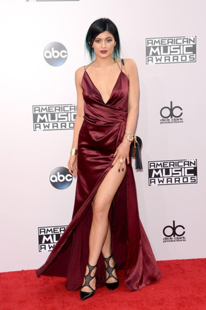 kylie jenner dress shoes bag burgundy gown sexy dress prom dress