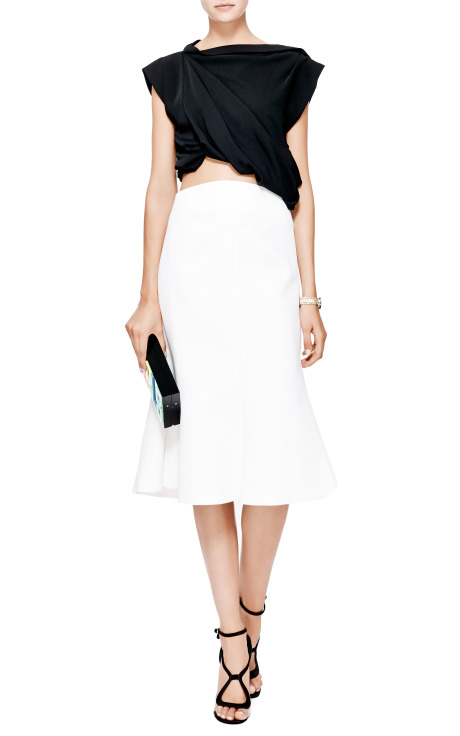 Buttercup Draped Black Crepe Crop Top by Ellery - Moda Operandi