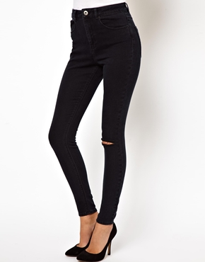 ASOS | ASOS Ridley Supersoft Ultra Skinny Jeans with Ripped Knee in Washed Black at ASOS