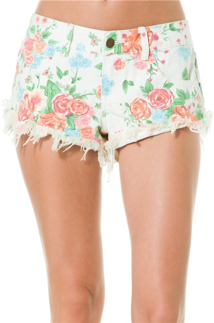 BILLABONG LANEWAY FLORAL DENIM SHORT > Womens > Clothing > Shorts & Rompers | Swell.com