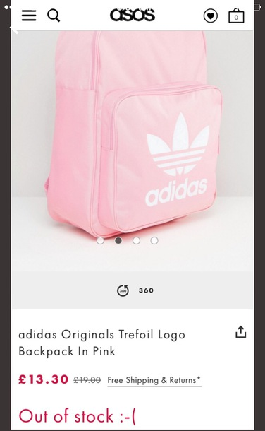 bag adidas pink girly adidas originals backpack packbag pink bag school bag