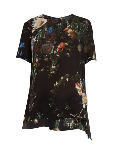 Adam Lippes top floral print silk black