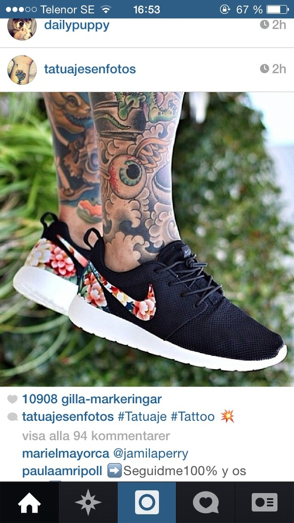 shoes nike nike roshe run flowers