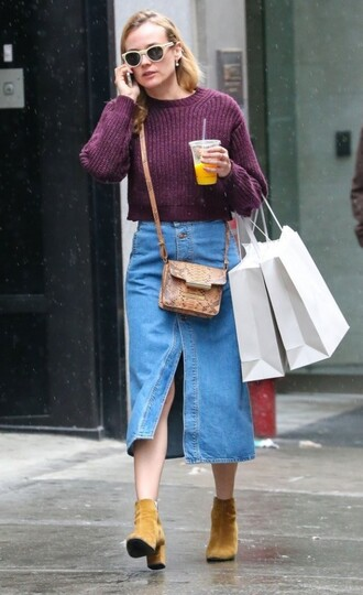 skirt denim slit skirt slit skirt denim skirt diane kruger celebrity style celebrity midi skirt sweater purple sweater cropped sweater bag crossbody bag boots yellow boots suede boots fall outfits