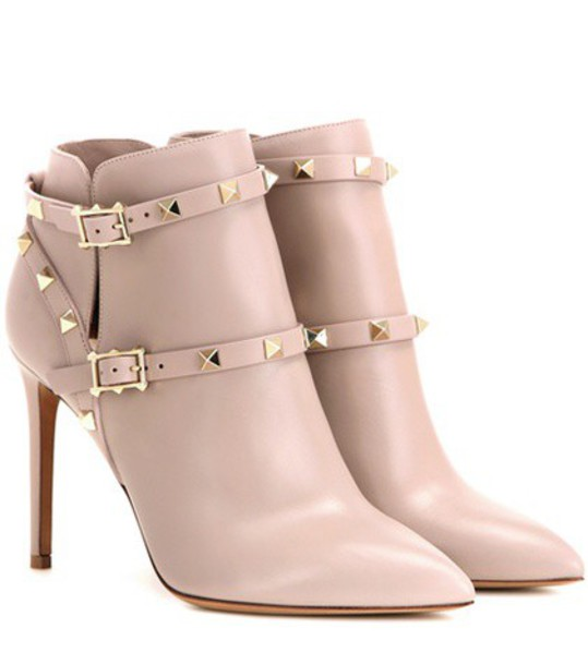 Valentino leather ankle boots boots ankle boots leather beige shoes