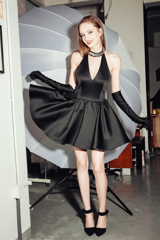 Moona V neck satin dress