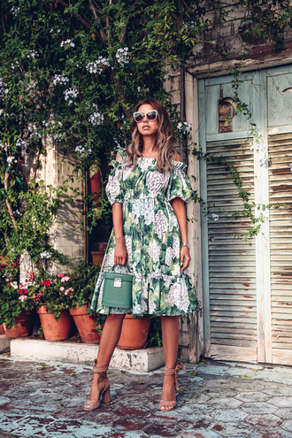 vivaluxury - fashion blog by annabelle fleur: nyfw mini moment blogger dress sunglasses bag shoes jewels summer dress printed dress summer outfits sandals high heel sandals green bag midi dress tumblr floral floral dress sandal heels off the shoulder off the shoulder dress tumblr bag bucket bag floral printed dress blogger style