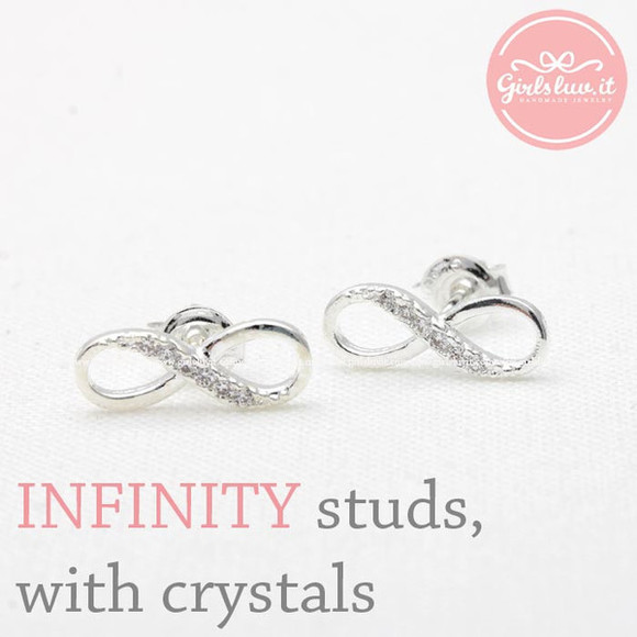 jewels jewelry forever earrings infinity earrings anniversary gift infinity infinite earrings crystals earrings wedding gift