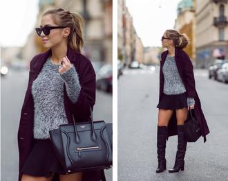 kenza blogger bag sunglasses ring thigh highs burgundy sweater coat skirt