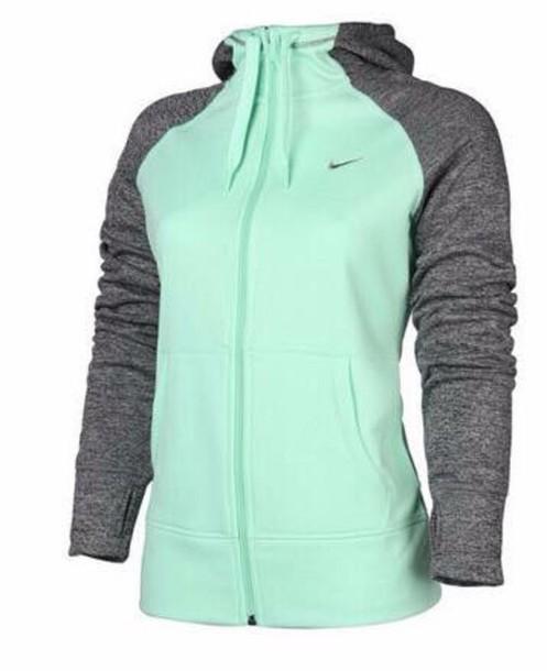 ea088cfef668 jacket grey and turquoise nike jacket hoodie sportswear nike sportswear gym  fitness mint teal nike hoodie
