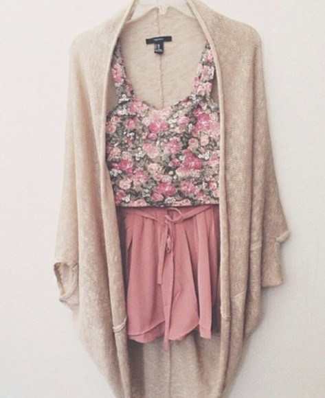 jacket skirt blouse creme cute, flowers, floral, summer, pink pink shorts