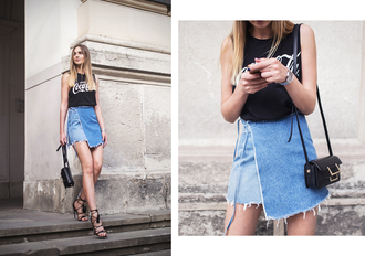 skirt mini skirt denim skirt wrap skirt tank top logo top sandals blogger blogger style crossbody bag