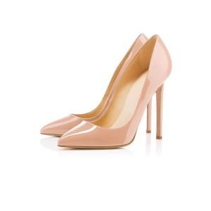 Women's Nude Classic Pointy Toe Stiletto Heel Pumps Office Heels