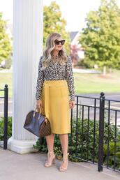 suburban faux-pas,blogger,sunglasses,blouse,skirt,bag,jewels,shoes,sandals,louis vuitton bag,yellow skirt,spring outfits,fall outfits