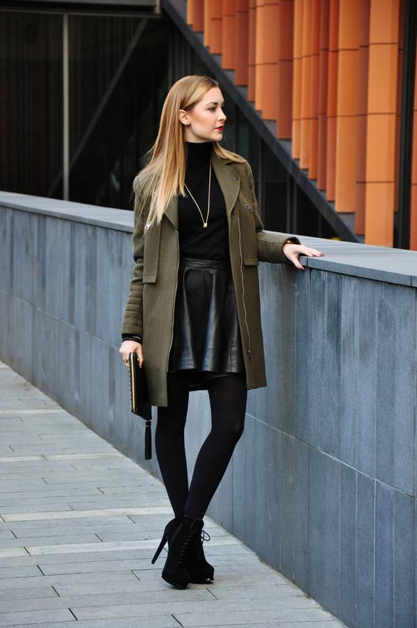 karina in fashionland coat sweater skirt bag jewels shoes