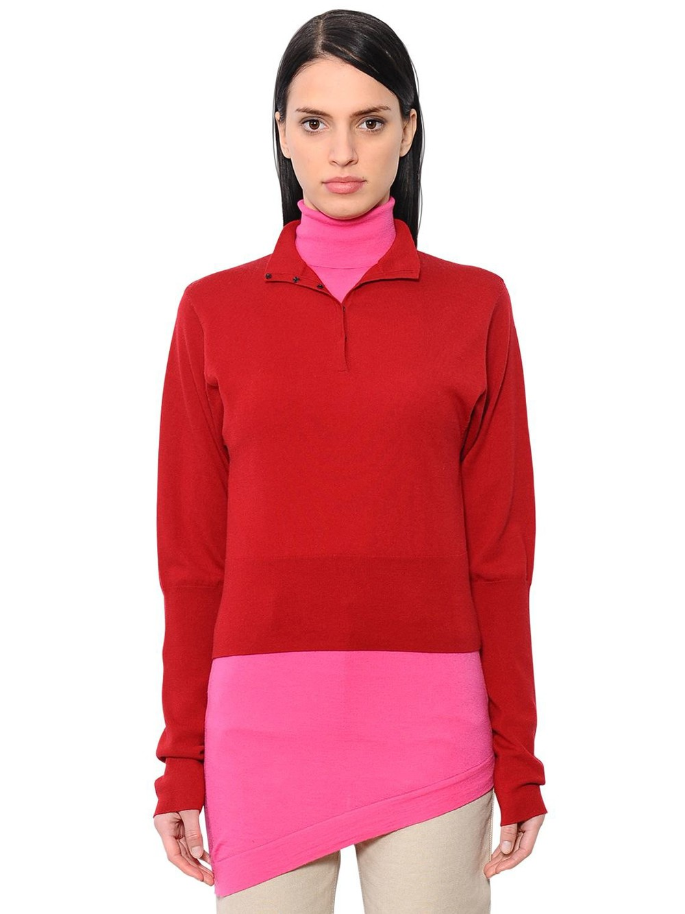 J.W.ANDERSON Double Layer Merino Wool Knit Shirt in pink / red