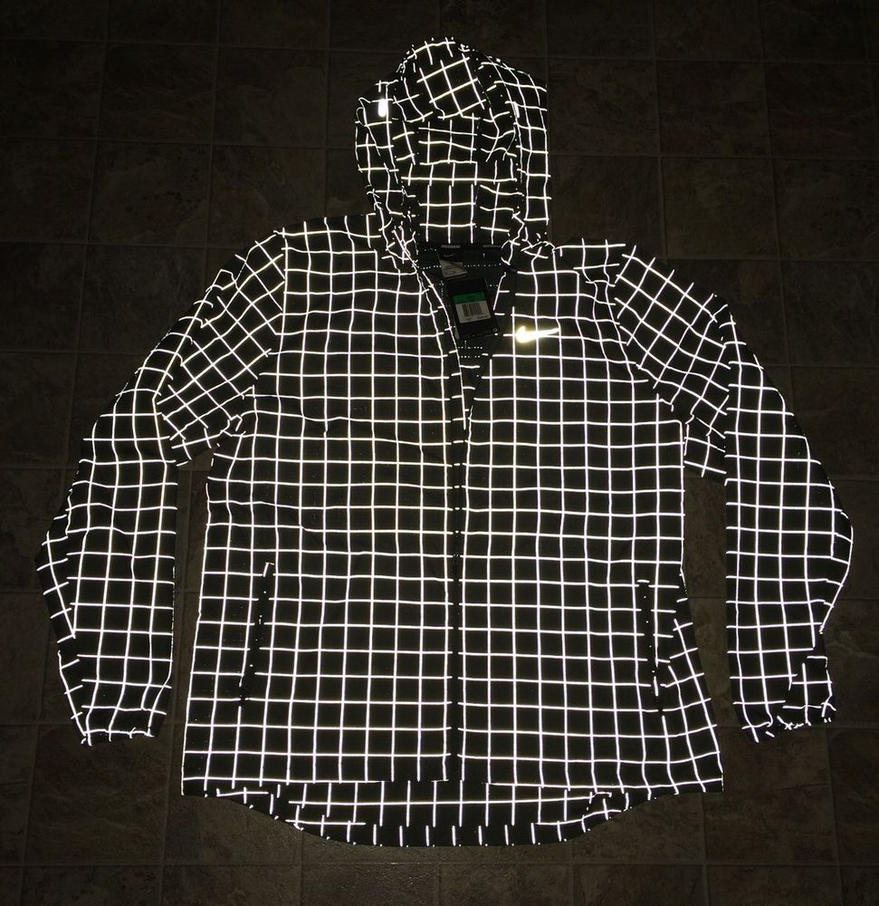 NWT $200 Men's NIKE CHECKERED FLASH REFLECTIVE XS RUNNING JACKET HOODED 3M RARE