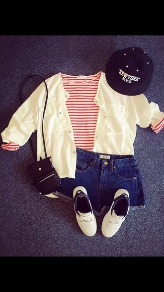 outfit bag t-shirt white style purse shorts jeans hat black cardigan stripes long sleeves running shoes jumper