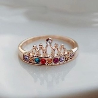 gold ring silver crown ring
