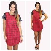 dress,tartan,plaid,tartan dress,plaid dress,plaid dress red black short lace,leather,pu,pu sleeve,bag