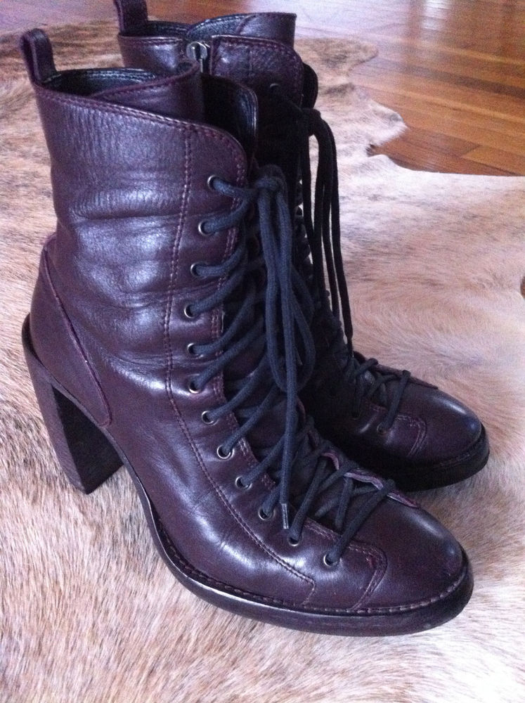 Ann Demeulemeester Single Lace Boots Talon Heel Prune Leather 37.5 FW 08