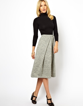 ASOS Midi Skirt in Soft Touch at ASOS