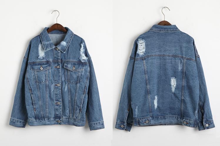 Holypink x cbomb ripped denim jacket