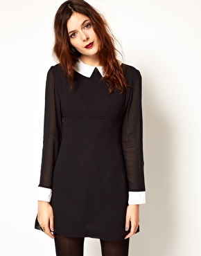 Pop Boutique   Pop Boutique Dress with Contrast Collar and Cuffs at ASOS