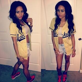 summer outfits tumblr girl japanese style gorgeous jacket shorts shirt coat baseball shirt yellow