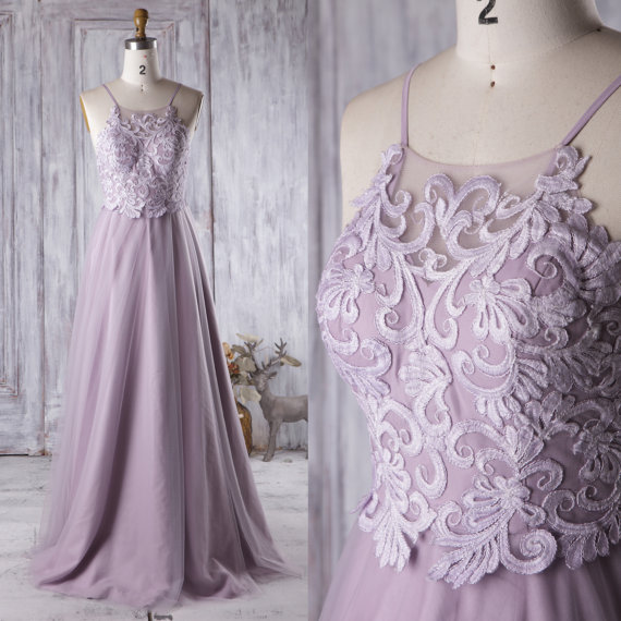 543b4f93851f 2017 Light Purple Bridesmaid Dress Long, Spaghetti Straps Wedding Dress, A  Line Prom Dress, Backless Evening ...
