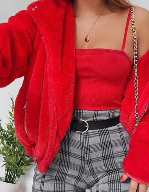 coat red jacket fur fur jacket fur coat red jacket