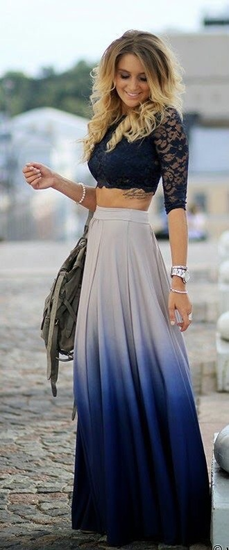 skirt dark blue skirt ombre skirt maxi maxi skirt dark dark blue blouse hair accessory
