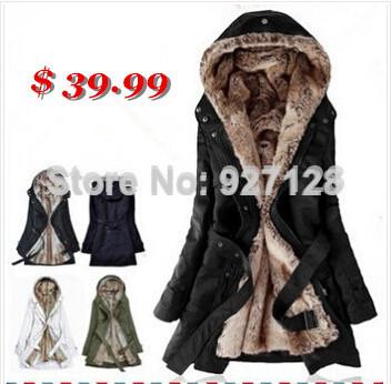 Faux fur lining women's fur Hoodies Ladies coats winter warm long coat jacket cotton clothes thermal parkas Free Shipping LOWEST | Amazing Shoes UK