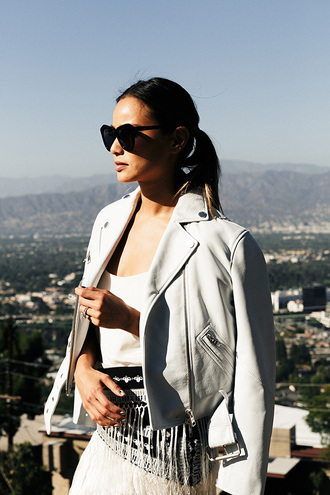 dress white jamie chung jacket sunglasses