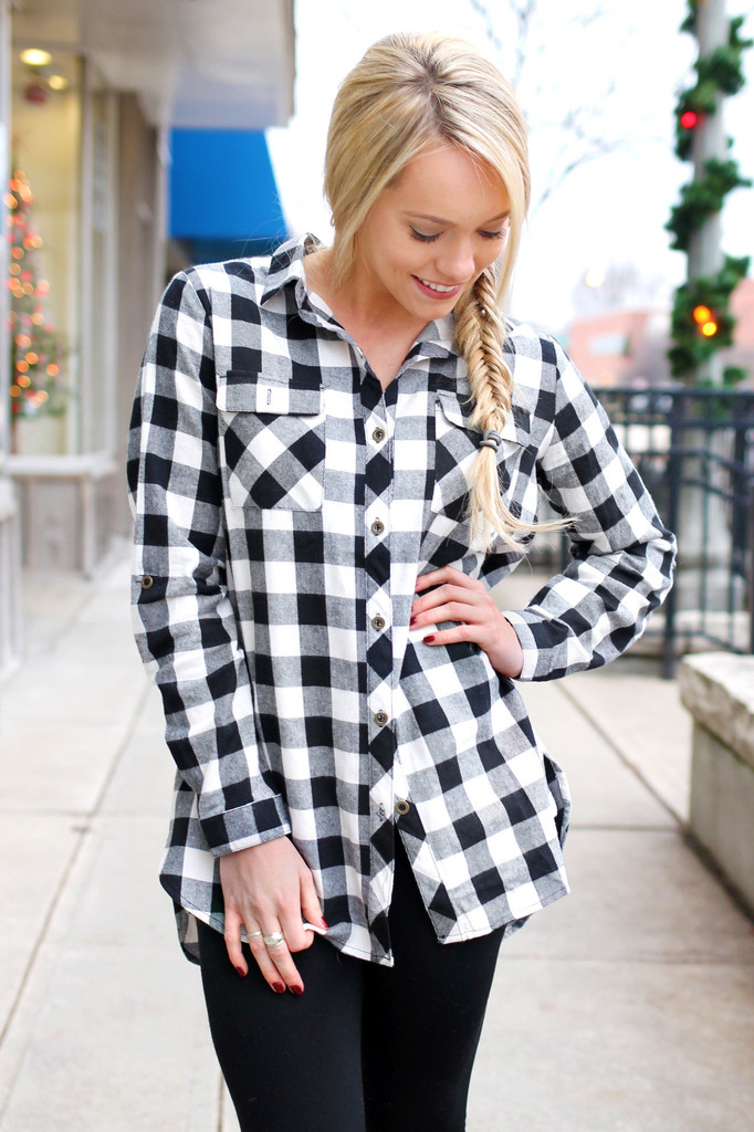0db0bb6177f583 Free shipping BOTH ways on black and white flannel shirt, from our vast  selection of