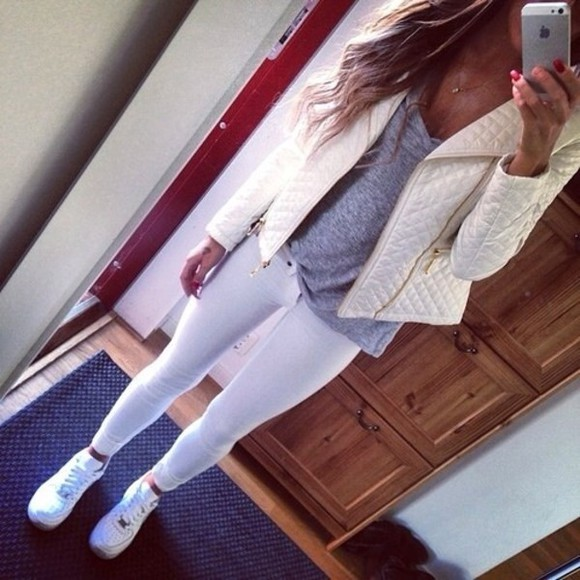 jacket beauty white leather jacket t-shirt shoes white jeans