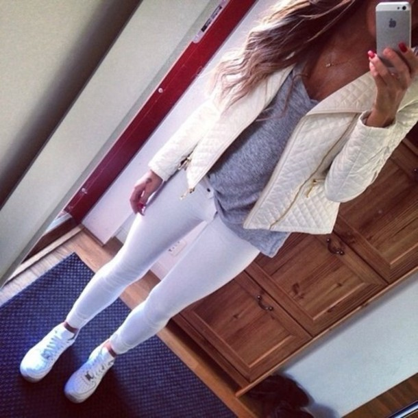jacket t-shirt shoes white jeans white leather jacket beautiful coat nike air force one low white jacket grey shirt white jeans