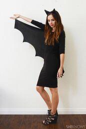 dress,bat,black dress,black,bat costume,batman cosplay costume,halloween,halloween costume,halloween dresses,little black dress,black sandals tie up sandals,all black everything,flower headband,ears headband