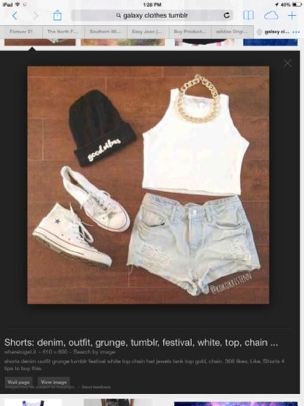 hat shorts jewels shoes shirt