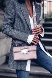 coat,tumblr,grey coat,wool coat,wool,bag,pink bag,top,white top,denim,jeans,blue jeans,pastel bag,crossbody bag,designer bag,studded bag,studs,nude bag,blush pink,work outfits,office outfits