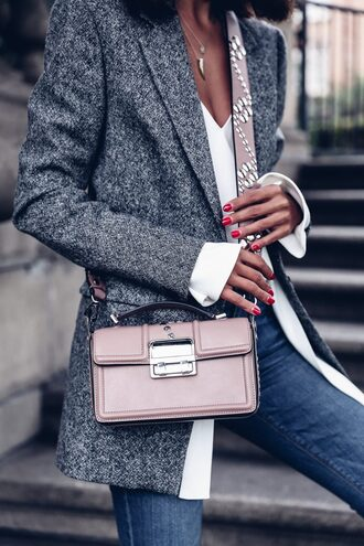 coat tumblr grey coat wool coat wool bag pink bag top white top denim jeans blue jeans pastel bag crossbody bag designer bag studded bag studs nude bag blush pink work outfits office outfits
