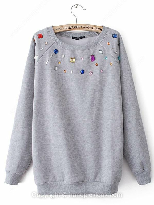 Grey Round Neck Long Sleeve Rhinestone Sweatshirt - HandpickLook.com