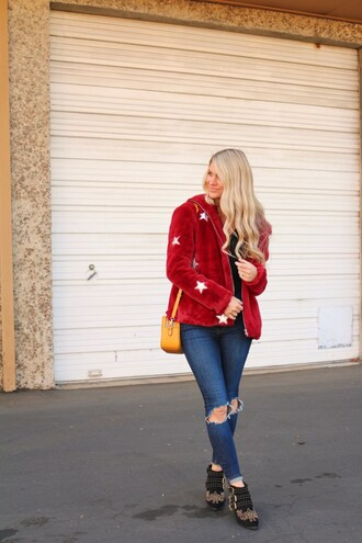 ashn'fashn blogger jewels jacket bag jeans shoes red jacket ankle boots orange bag winter outfits